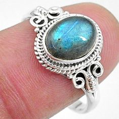 3.13cts solitaire natural blue labradorite oval 925 silver ring size 8 t11298