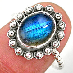3.98cts solitaire natural blue labradorite oval 925 silver ring size 8 t25377