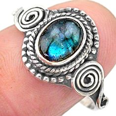 1.43cts solitaire natural blue labradorite oval 925 silver ring size 8 t26220