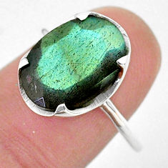 6.15cts solitaire natural blue labradorite oval 925 silver ring size 8 t33880