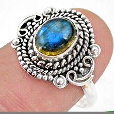 2.14cts solitaire natural blue labradorite oval 925 silver ring size 8 t43997