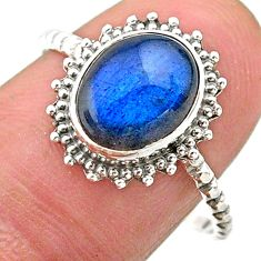 3.93cts solitaire natural blue labradorite oval 925 silver ring size 9 t25300