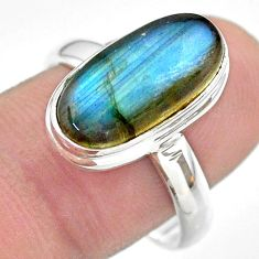 7.36cts solitaire natural blue labradorite oval 925 silver ring size 9 t29238