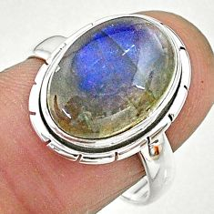 6.54cts solitaire natural blue labradorite oval 925 silver ring size 7.5 t12755