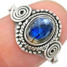 1.42cts solitaire natural blue labradorite oval 925 silver ring size 6.5 t26216