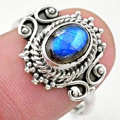2.09cts solitaire natural blue labradorite oval 925 silver ring size 7.5 t27618
