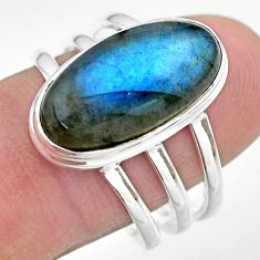 8.65cts solitaire natural blue labradorite oval 925 silver ring size 9.5 t29239