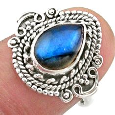 2.41cts solitaire natural blue labradorite pear 925 silver ring size 7 t46176