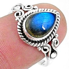 2.44cts solitaire natural blue labradorite pear 925 silver ring size 8 t15832