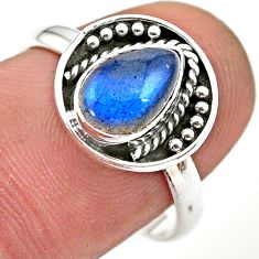 2.61cts solitaire natural blue labradorite pear 925 silver ring size 8 t28420