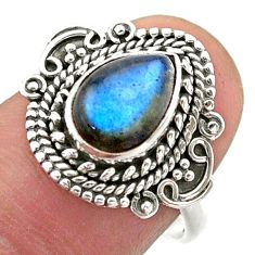 2.56cts solitaire natural blue labradorite pear 925 silver ring size 8 t46177