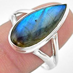 9.42cts solitaire natural blue labradorite pear 925 silver ring size 9 t29236