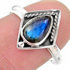 2.41cts solitaire natural blue labradorite pear 925 silver ring size 8.5 t28373