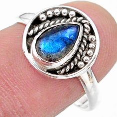 2.45cts solitaire natural blue labradorite pear 925 silver ring size 8.5 t28376