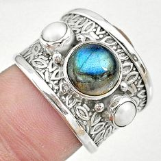5.35cts solitaire natural blue labradorite pearl 925 silver ring size 7 t10378
