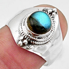 2.54cts solitaire natural blue labradorite round 925 silver ring size 7 r40880