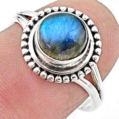 2.61cts solitaire natural blue labradorite round 925 silver ring size 7 t15654