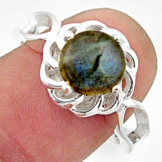 3.26cts solitaire natural blue labradorite round 925 silver ring size 8 r40673