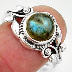 3.35cts solitaire natural blue labradorite round 925 silver ring size 8 r40856