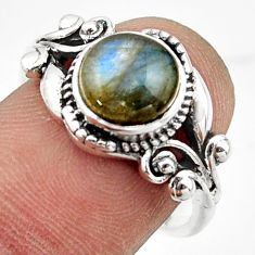 3.35cts solitaire natural blue labradorite round 925 silver ring size 8 r41892