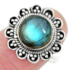 4.84cts solitaire natural blue labradorite round 925 silver ring size 8 t10540
