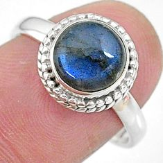 3.46cts solitaire natural blue labradorite round 925 silver ring size 8 t10580