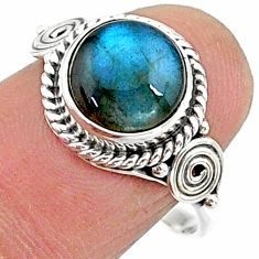 4.80cts solitaire natural blue labradorite round 925 silver ring size 8 t15791