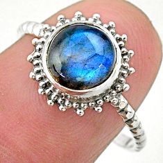 2.49cts solitaire natural blue labradorite round 925 silver ring size 8 t25297