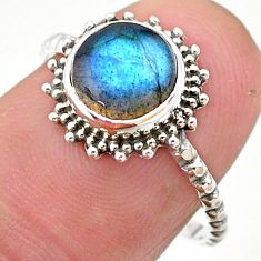 2.94cts solitaire natural blue labradorite round 925 silver ring size 8 t25317