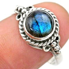2.72cts solitaire natural blue labradorite round 925 silver ring size 8 t26114