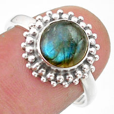 3.09cts solitaire natural blue labradorite round 925 silver ring size 8 t41299