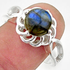 3.48cts solitaire natural blue labradorite round 925 silver ring size 9 r40674