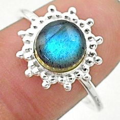 2.51cts solitaire natural blue labradorite round 925 silver ring size 8.5 t19150