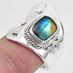 3.28cts solitaire natural blue labradorite silver adjustable ring size 7 r49575