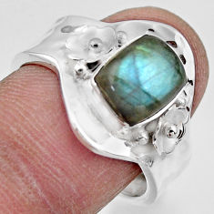 3.29cts solitaire natural blue labradorite silver adjustable ring size 8 r49578