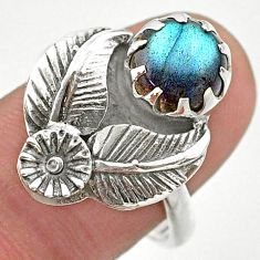 2.81cts solitaire natural blue labradorite silver flower ring size 8.5 t25206