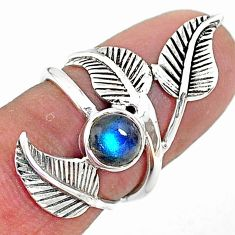 1.26cts solitaire natural blue labradorite silver leaf charm ring size 5 t6376