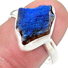 6.36cts solitaire natural blue labradorite slice 925 silver ring size 8.5 t48795