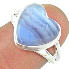 6.39cts solitaire natural blue lace agate 925 silver heart ring size 7 t55069