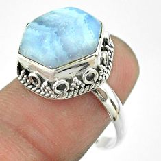 6.54cts solitaire natural blue lace agate 925 silver hexagon ring size 8 t55899