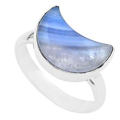 6.04cts moon natural blue lace agate 925 silver ring size 7.5 t22043