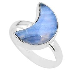 5.47cts moon natural blue lace agate 925 sterling silver ring size 7 t22060