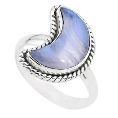 5.81cts moon natural blue lace agate 925 sterling silver ring size 8 t22146