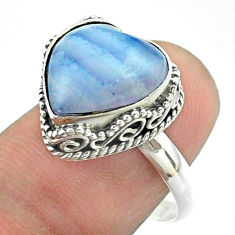 6.04cts solitaire natural blue lace agate 925 sterling silver ring size 8 t55916