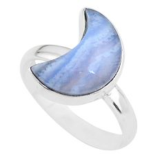 6.13cts moon natural blue lace agate 925 sterling silver ring size 9 t22054