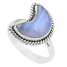 6.10cts moon natural blue lace agate 925 sterling silver ring size 9 t22151
