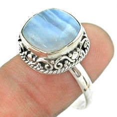 6.83cts solitaire natural blue lace agate cushion silver ring size 8.5 t55863