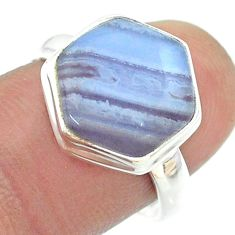 6.47cts solitaire natural blue lace agate silver hexagon ring size 8 t55136