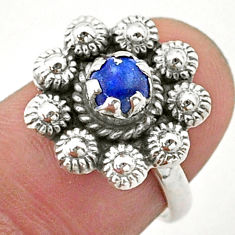 0.90cts solitaire natural blue lapis lazuli 925 silver flower ring size 6 t40734