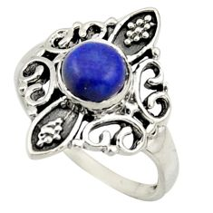 1.19cts solitaire natural blue lapis lazuli 925 silver ring size 5.5 r41946
